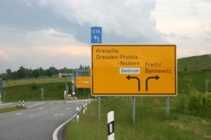 Rechts abbiegen Richtung Bannewitz (nicht nach Dresden – Prohlis)